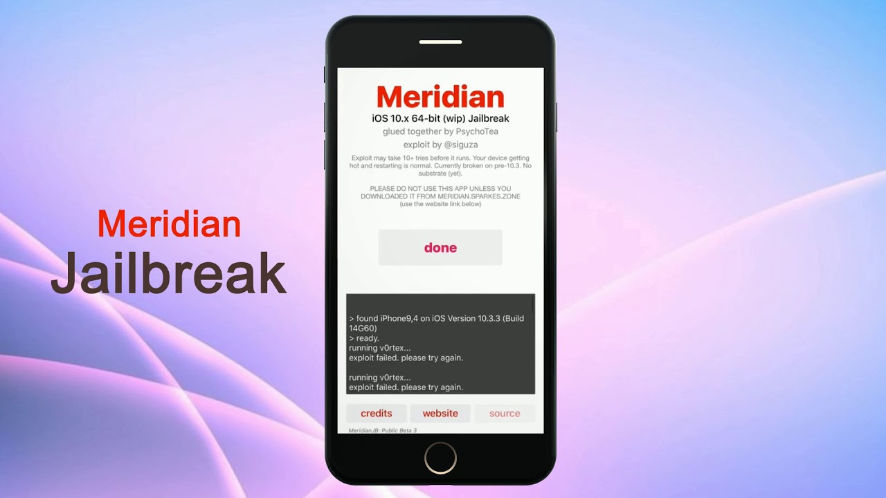 Meridian jailbreak for iOS 10 3 3 - Online ( No PC )