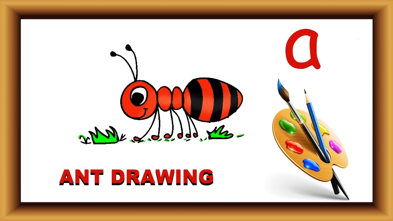"How to draw with alphabet | Step by Step Draw ant with Alphabet ""a"" 