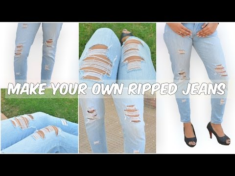How To Make Ripped Jeans | Distressed Jeans DIY