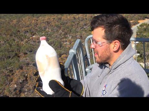 LIQUID NITROGEN Vs COCA-COLA 45m Drop Test Experiment! | How Ridiculous