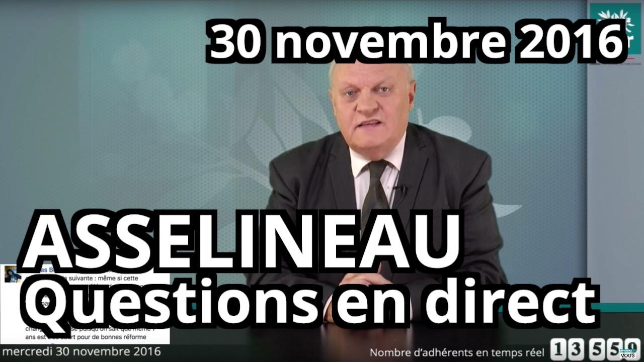 d6237e9da8 Entretien en direct de François Asselineau sur Facebook - Mercredi 30  novembre 2016