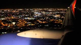 Southwest Airlines night landing in John Wayne-Orange County airport (SNA)