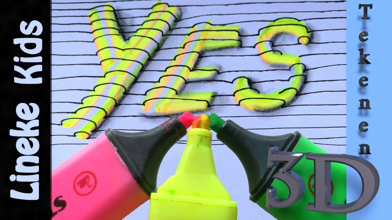 3d letters tekenen makkelijk met marker stift youtube for Tekenen in 3d