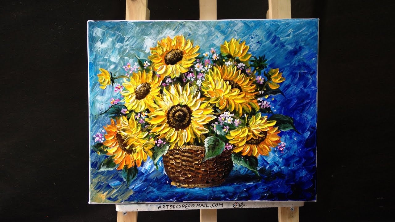 How to paint sunflower with acrylic paint using a palette knife  YouTube