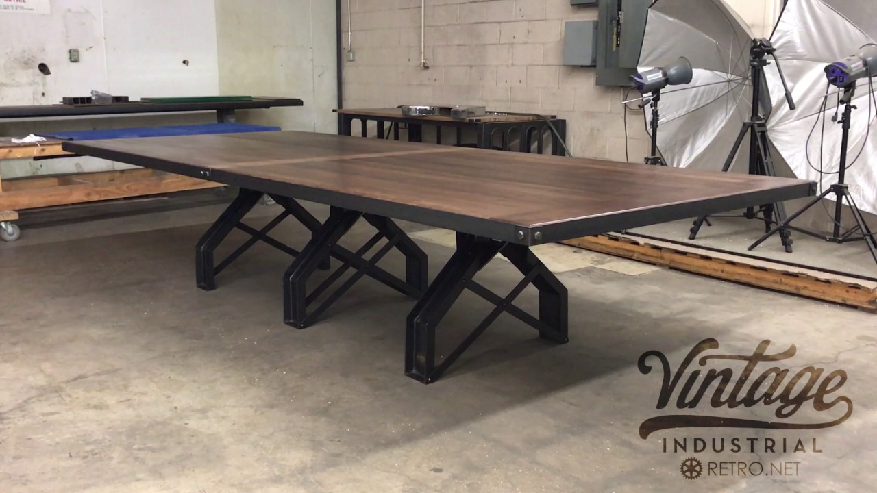 Rouille Conference Table By Vintage Industrial YouTube - Vintage industrial conference table
