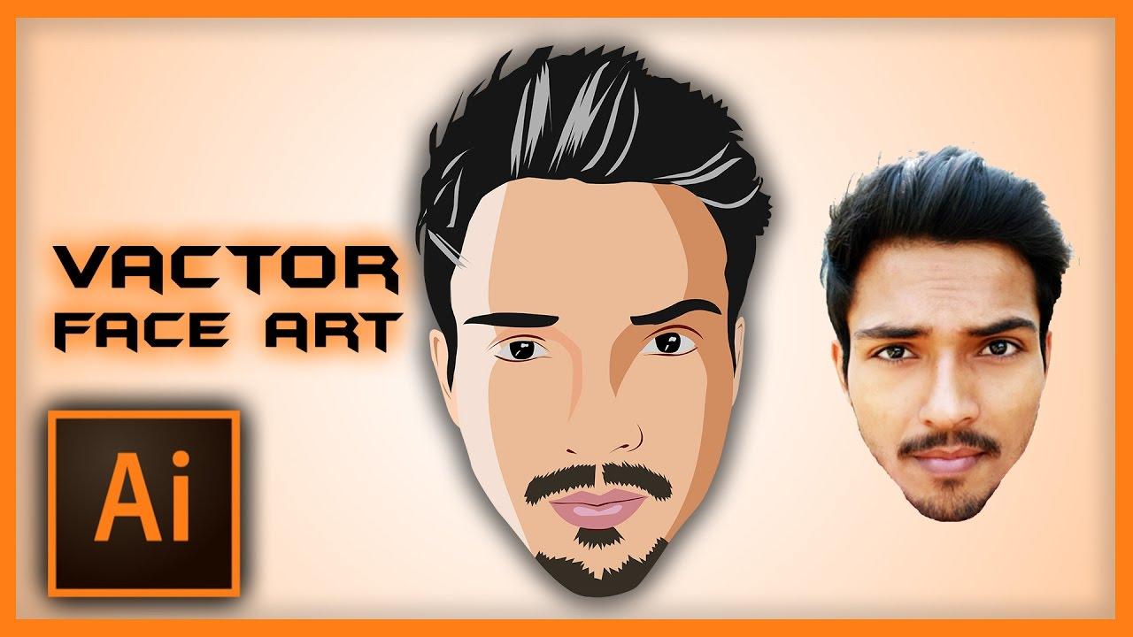 illustrator tutorial vector face art using pen tool speed art rh youtube com vector facelift vector facebook logo