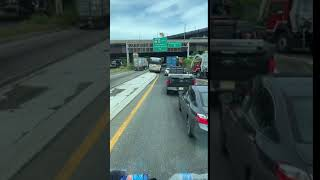 NJ Transit bus drives over median to cut in front of traffic