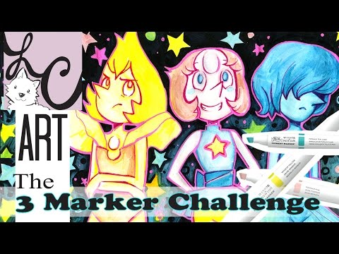 Steven Universe 3 Marker Challenge ! ( Yellow Pearl, Pearl & Blue Pearl)