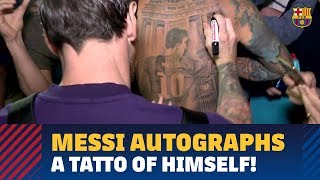 A special Messi autograph — on a tattoo of his own image!