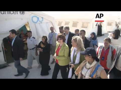 EU foreign affairs chief tours Syrian refugee camp