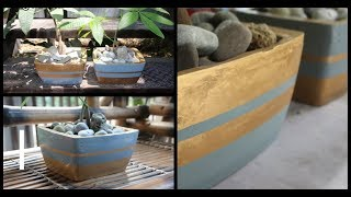 How to Make Beautiful Cement Pot at Home| Cement Flower Pot | Best Bonsai Pot