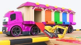 Aprende colores para niños con coloridos garajes y excavadoras! Autos para niños