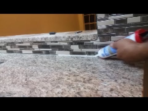 How To Caulk On A Kitchen Backsplash   Seal The Gap Between Granite And  Mosaic.
