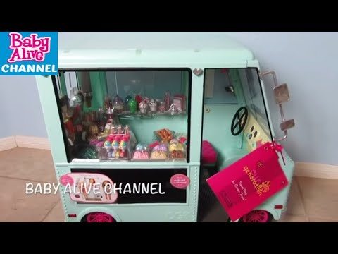 Our Generation Doll Ice Cream Truck Unboxing with Real Surprises Baby Alive Doll and Maddy and Elsie