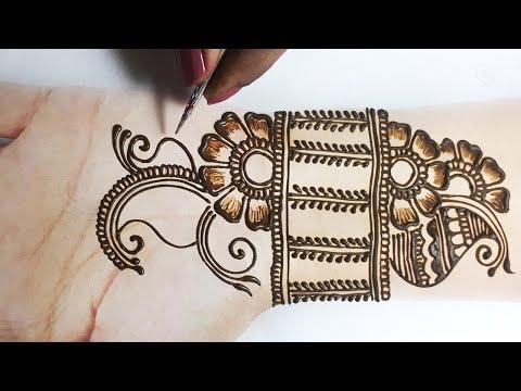 Beautiful Mehndi Design for Hands - Front Hand Mehndi Design - आसान फ्लावर मेहँदी लगाना सीखे
