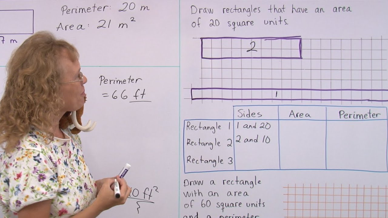 Area and perimeter problems - rectangular shapes - 3rd/4th grade math -  YouTube [ 720 x 1280 Pixel ]