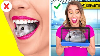 HOW TO SNEAK PETS INTO THE PLANE || Funny Ideas To Sneak Anything Anywhere by 123 GO!