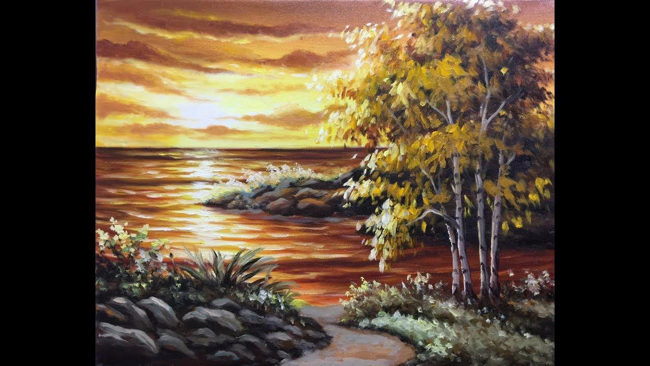 Bờ biển chiều hoàng hôn đẹp tuyệt  tranh sơn dầu