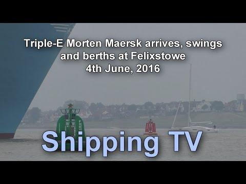 Triple-E Morten Maersk arrives, swings and berths at Felixstowe, 4 June 2016