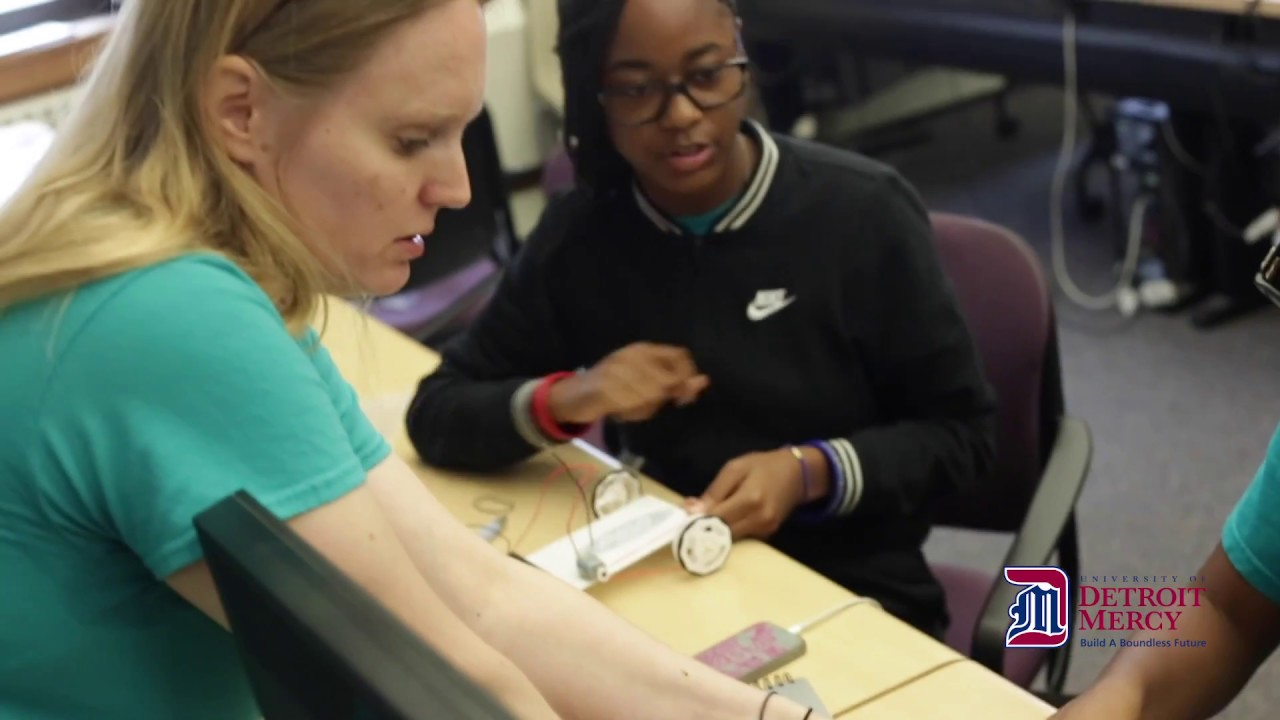 Prospective Female Engineers Build Motorized Car at University of Detroit Mercy.