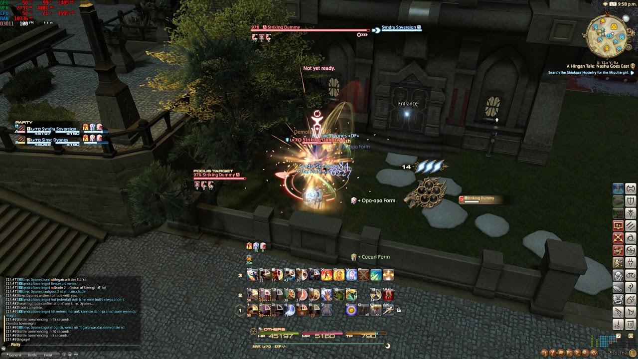 Final Fantasy XIV Stormblood - Lvl 70 Monk opener + rotation (Dummy Bashing)
