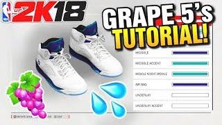 NBA 2K18 SHOE CREATOR TUTORIAL HOW TO MAKE AIR JORDAN WHITE GRAPE 5 2K18  BEST RETROS ... 7f98a3918