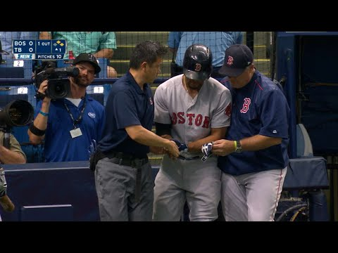 BOS@TB: Bogaerts leaves the game after getting HBP