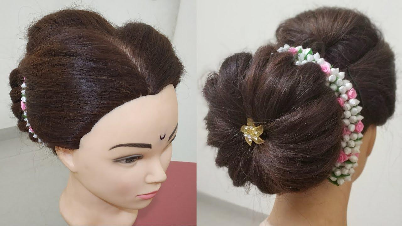 maharashtrian bridal bun with gajra   lace braid bun hairstyle