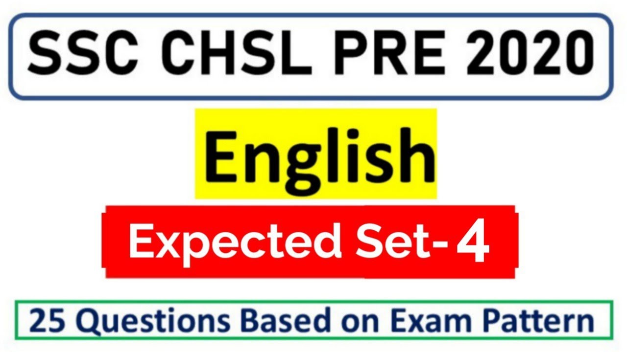SSC CHSL/CPO/CGL 2020 Expected English Set-4 by Rohit Tripathi | English For SSC