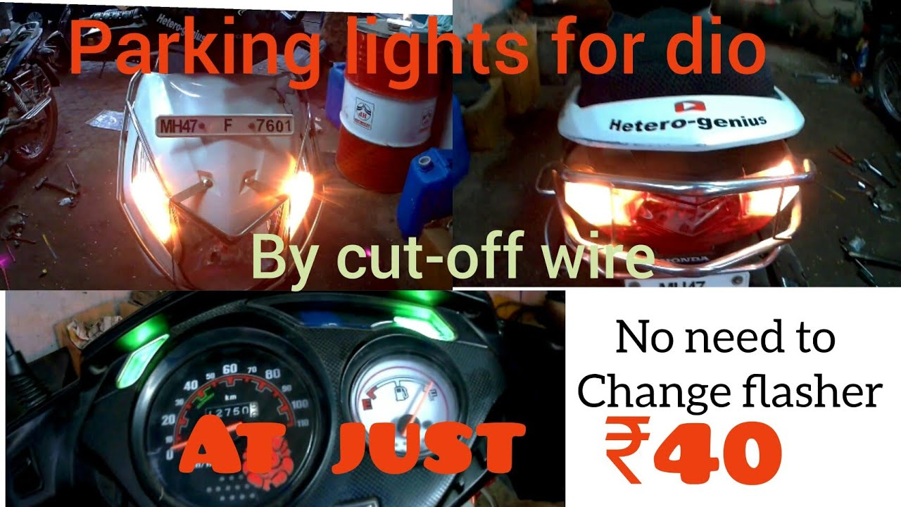 how to install hazard lights on scooters and motorcycle s honda dio  [ 1280 x 720 Pixel ]