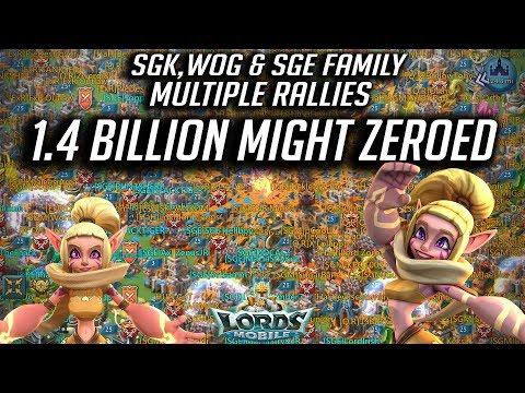 1.4 Billion ZEROED SGK WOG & SGE Family Multiple Rallies - Lords Mobile