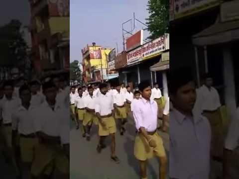 RSS route march আর এস এস এর বিশাল শোভাযাত্রা পশ্চিমবঙ্গ ,  Raiganj, Uttar Dinajpur, Westbengal