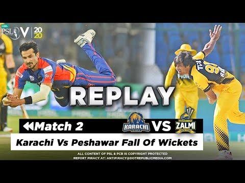 Karachi Vs Peshawar Fall Of Wickets   Karachi Kings Vs Peshawar Zalmi   Match 2   HBL PSL 5   2020