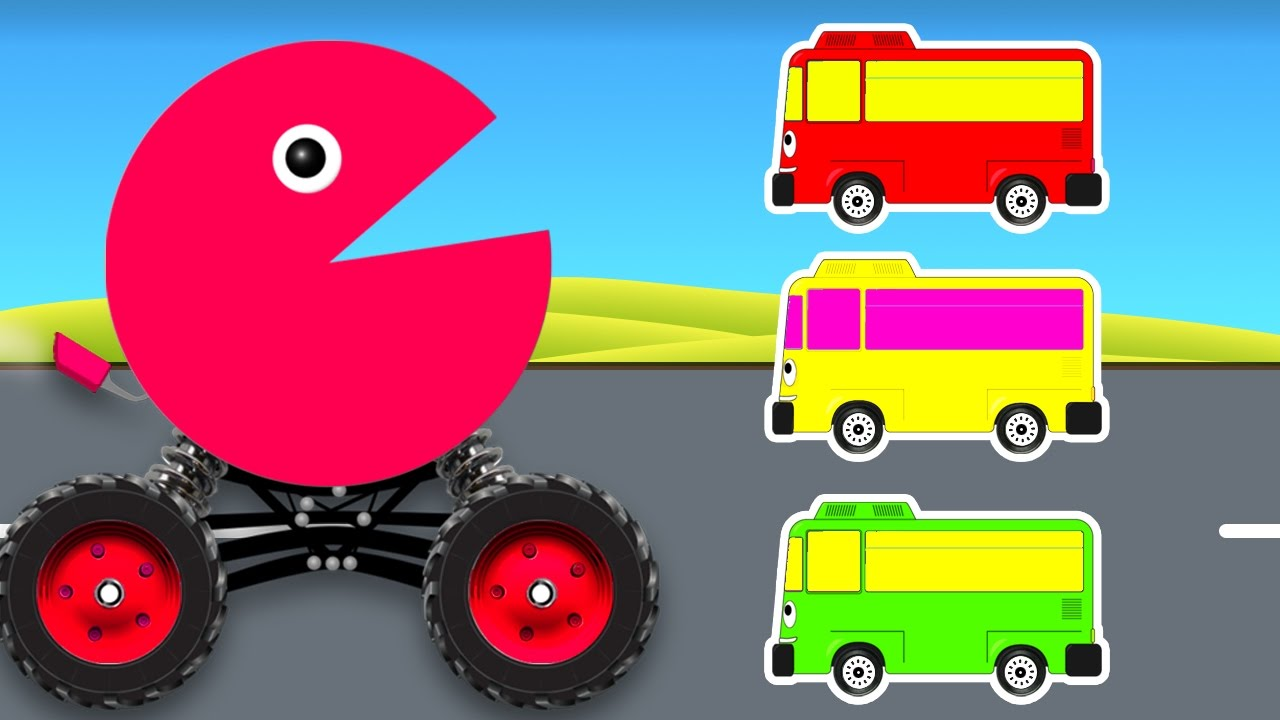 Learn Colors With Cars Cartoon For Kids And Color Bus Colours Video For Toddlers
