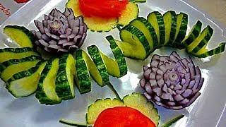 Украшения из огурца.(спираль) Украшения из овощей. Decoration Of Vegetables