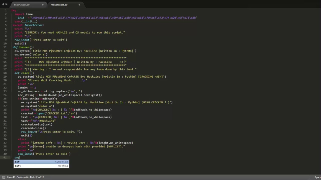 Speed Coding #2 - Md5 Decrypter [Python]