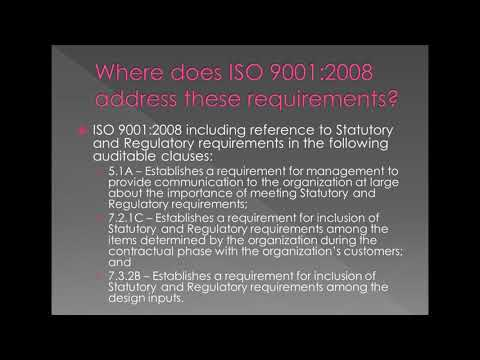 Statutory and Regulatory Requirements -  Expectations in an ISO 9001 QMS Audit