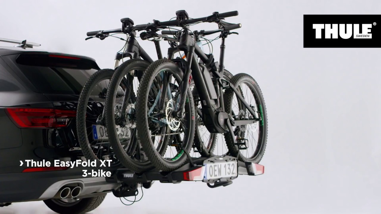 thule easyfold xt3 fietsendrager 3 fietsen 13 pin youtube. Black Bedroom Furniture Sets. Home Design Ideas