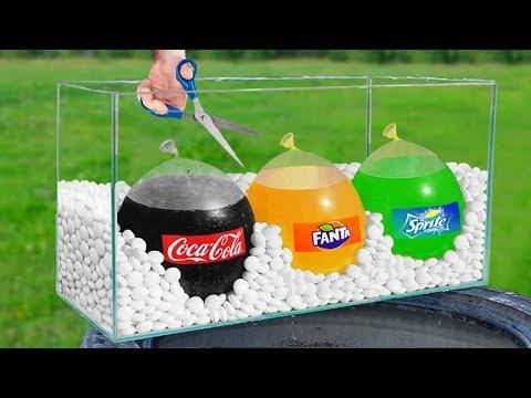 Experiment: Giant Balloons Of Coca Cola, Fanta And Sprite VS Mentos!