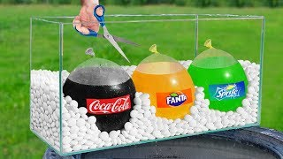 Experiment: Giant Balloons of Coca Cola, Fanta and Sprite VS Mentos!