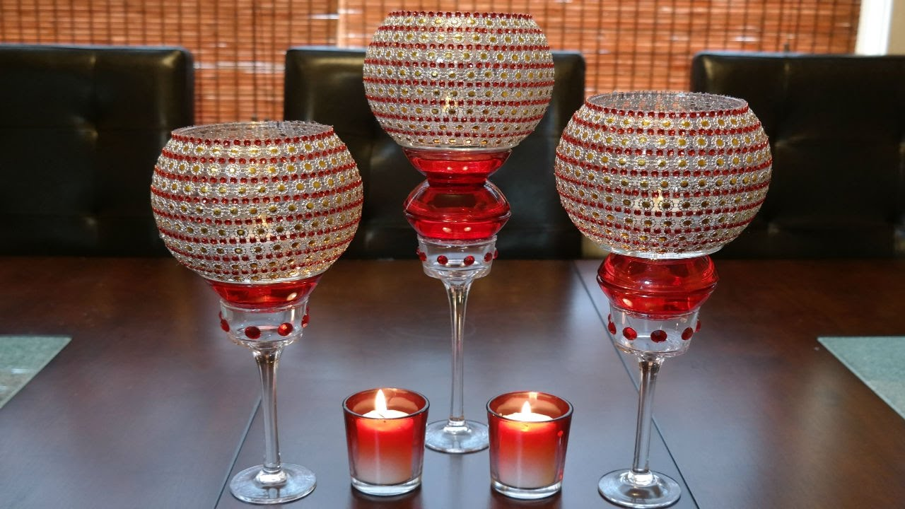 Centerpiece ideas red decorative glass candleholder for Centerpieces made with wine glasses