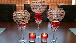 Centerpiece ideas: Red decorative glass candleholder centerpiece