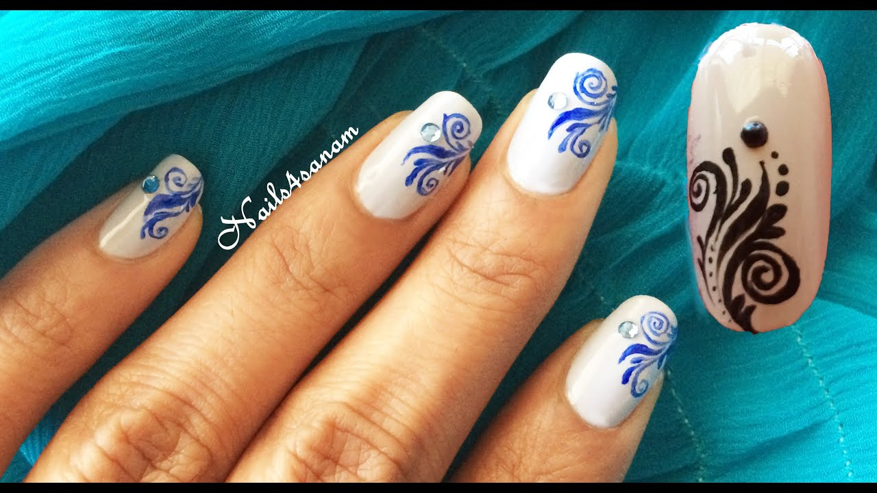 Nail Art Tutorial Free Style Design Youtube