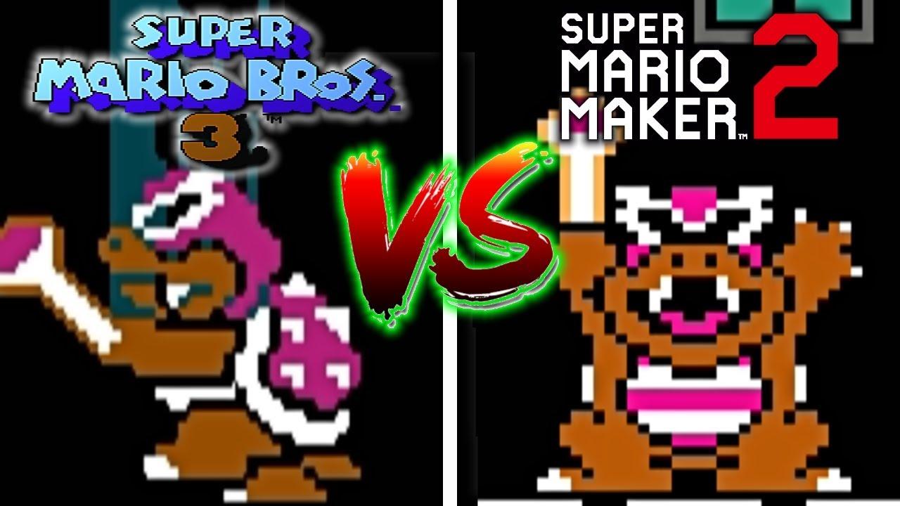 Super Mario Maker 2 Vs Super Mario Bros 3 All Koopalings Boss Battles Comparison Youtube
