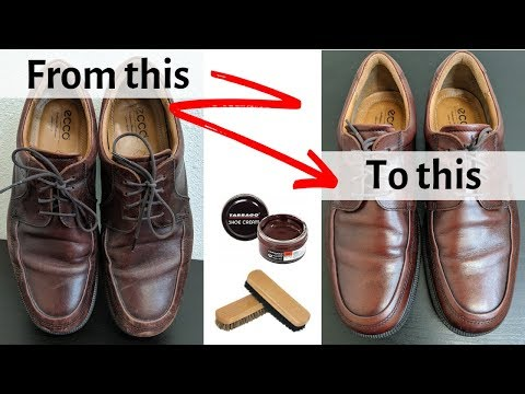 Cleaning and Polishing Ecco Shoes - ASMR - Before and After