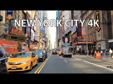 Driving Downtown 4K - NYC's 42nd St Theaters - New York City USA
