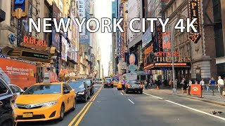 Driving Downtown - 42nd St Theaters - New York City NY USA