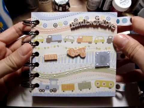 simple baby boy mini scrapbook album easy to carry along