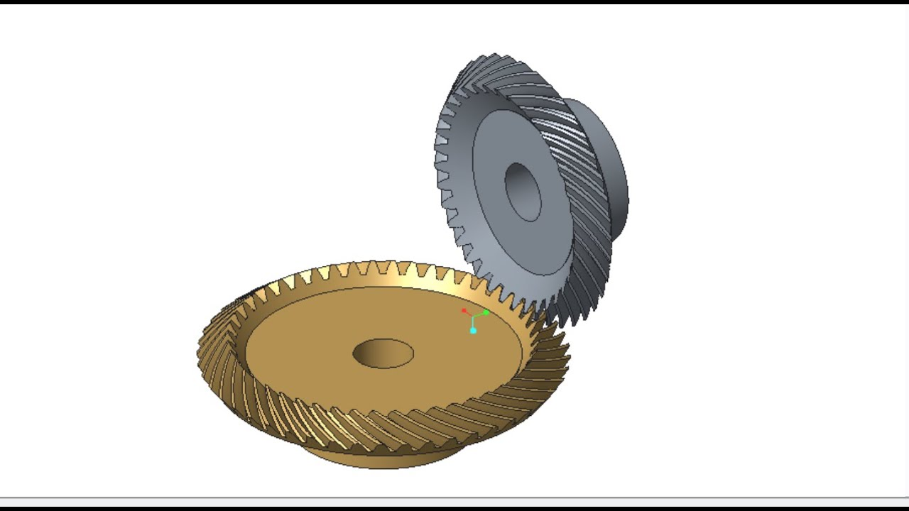 Bevel Gear Animation : Ptc creo pro e spiral bevel gears animation 曲がり傘歯車の