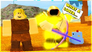 God Player PROTECTS Noob From Danger! (ROBLOX BOOGA BOOGA)